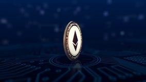 Virtuelle Schlüssel-währung Ethereum-Münze stock video