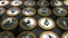 Virtuelle Schlüssel-währung Ethereum-Münzen stock footage