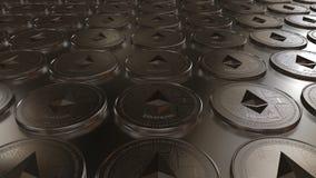 Virtuelle Schlüssel-währung Ethereum-Münzen stock video footage