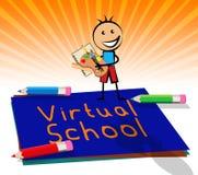 Virtuelle Schule zeigt Lernen-und der Bildungs-3d Illustration an Lizenzfreies Stockbild