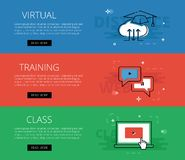 Virtuelle Trainings-Klasse Vektorfahnen-Schablonensatz Lizenzfreies Stockfoto