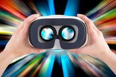 Virtuelle vr Glasschutzbrillen-Kopfhörerkonzepte stockfoto