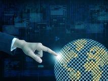 Virtuelle Welt der Handpresse Stockbild