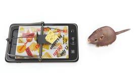 Virtueller Käse Smartphone als Mausefalle und Maus Stockfotografie