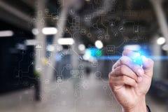 Virtueller Schirm industriell und GeschäftsOrganisationsstrukturhintergrund Modernes Technologie- und Internet-Konzept IOT lizenzfreie stockbilder
