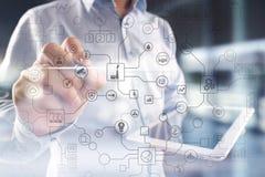 Virtueller Schirm industriell und Gesch?ftsOrganisationsstrukturhintergrund Modernes Technologie- und Internet-Konzept IOT stockfotografie