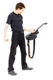 Virtuoso guitarist, dressed in black Royalty Free Stock Photos