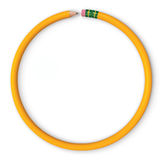 Virtuous Circle. Yellow pencil in the shape of a circle. Isolated on white. Includes clipping path Stock Photo