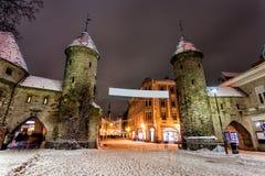 Viru Gate towers in Tallinn Old Town, Estonia Stock Image