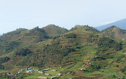 Virunga Mountains aerial view. Aerial view around the Virunga Mountains in Uganda (Africa Stock Photography