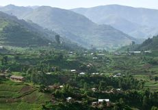 Virunga Mountains in Africa. Aerial view around the Virunga Mountains in Uganda (Africa Royalty Free Stock Photography