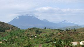 Virunga Mountains panoramic scenery. Aerial view around the Virunga Mountains in Uganda (Africa Royalty Free Stock Photo