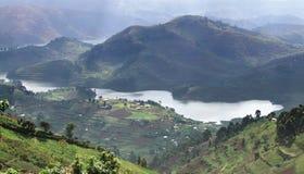 Virunga Mountains in Uganda. Aerial view around the Virunga Mountains in Uganda (Africa Royalty Free Stock Photography