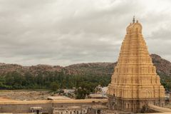 Virupaksha hindu temple Gopuram captured from Hemakuta Hill.  royalty free stock photography