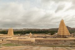 Virupaksha hindu temple Gopuram captured from Hemakuta Hill.  stock photography