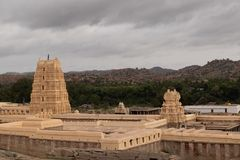 Virupaksha hindu temple Gopuram captured from Hemakuta Hill.  stock images