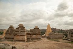 Virupaksha hindu temple Gopuram captured from Hemakuta Hill.  royalty free stock image