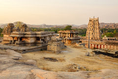 Virupaksha temple in Hampi. Beautiful view of ancient ruins of Virupaksha temple in Hampi on sunset, Karnataka, India royalty free stock images