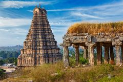 Virupaksha Temple. Hampi, Karnataka, India. Gopura or gopuram tower of Virupaksha Temple. Hampi, Karnataka, India royalty free stock images
