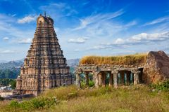 Virupaksha Temple. Hampi, Karnataka, India. Gopura or gopuram tower of Virupaksha Temple. Hampi, Karnataka, India stock image