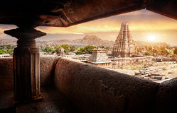 Virupaksha temple in Hampi. Virupaksha temple view from Hemakuta hill at sunrise in Hampi, Karnataka, India stock photos