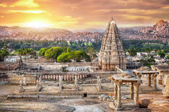 Virupaksha temple in Hampi. Virupaksha temple view from Hemakuta hill at sunset in Hampi, Karnataka, India royalty free stock photos