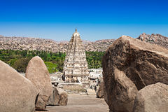 Virupaksha temple. Virupaksha hindu temple and ruins, Hampi, India royalty free stock photography