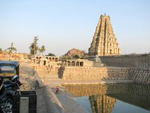 Virupaksha Temple, located in the ruins of ancient city Vijayanagar at Hampi, India. Stock Photo