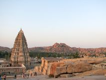 Virupaksha Temple, located in the ruins of ancient city Vijayanagar at Hampi, India. Royalty Free Stock Photos