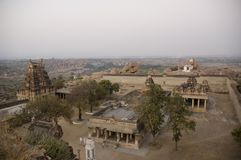 Virupaksha temple view from Hemakuta hill at sunrise in Hampi, Karnataka, India.  stock images