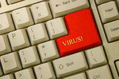 Virus. Keyboard with Virus key in red royalty free stock photo