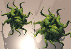 Virus. Attacking virus cells Royalty Free Stock Images