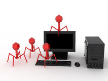 Virus. Computer damaged by red virus. 3d render royalty free illustration