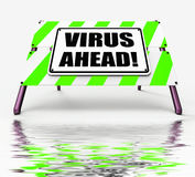 Virus Ahead Displays Viruses and Future Malicious Damage Royalty Free Stock Image