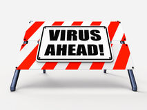 Virus Ahead Indicates Viruses and Future Malicious Stock Photo