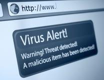 Virus Alert. Closeup of Virus Alert Sign in Internet Browser on LCD Screen stock image