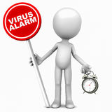 Virus alert. Little 3d man showing a virus alarm, holding a red banner against white background with alarm clock in other hand Royalty Free Stock Photo