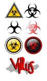 Virus alert. Signs warn that the presence of virus Royalty Free Stock Photo