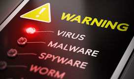 Virus Alert. Virus attack concept. Control panel with red light and warning. Conceptual image symbol of computer infection Stock Photography