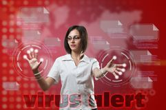 Virus alert concept. Woman touching fingerprint scanner on virtual interface, Virus alert concept Stock Image