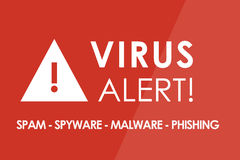 Virus Alert. Concept - white letters and triangle with exclamation mark Stock Image
