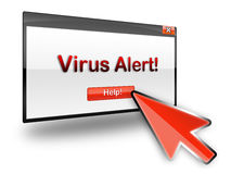 Virus alert help. Virus alert and help on a dialogue box with a red mouse pointer vector illustration