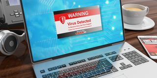 Virus alert on a laptop screen. 3d illustration. Virus alert on a laptop screen on an office desk. 3d illustration Stock Images