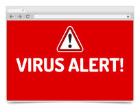 Virus alert on opened internet browser window with shadow. Royalty Free Stock Images