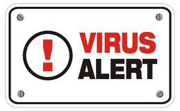 Virus alert rectangle sign. Suitable for alert sign Stock Photography