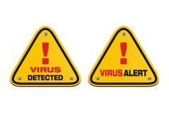 Virus alert, virus detected - triangle signs vector illustration