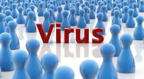 Virus alert. Word virus in a crowd of blue pawns Stock Photography