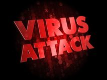 Virus Attack on Dark Digital Background. Stock Images