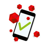 Virus attack smart phone background. On white background Royalty Free Stock Image