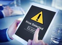 Virus avkänt vaket begrepp för sköld för dataintrångpiratkopieringrisk Arkivbild